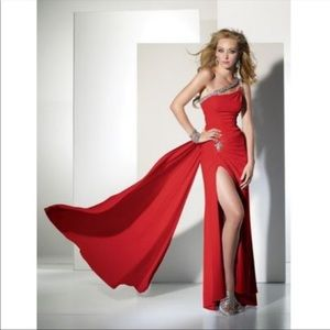 B Dazzle Red Beaded Jersey Alyce Prom Formal Gown